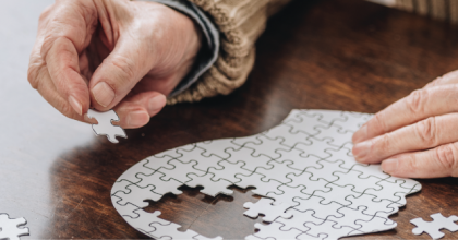 person working on a puzzle